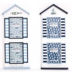 A mix of Coastal inspired wooden picture frames, perfectly decorated with light and dark blue tones and patterns