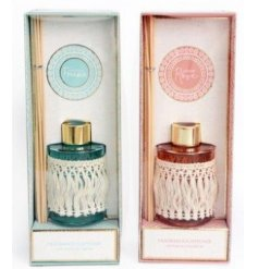these tassel wrapped reed diffusers will be sure to add a chic edge to any interior