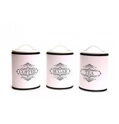 A set of classic tea, coffee and sugar tins. Perfect for a country or vintage style kitchen.