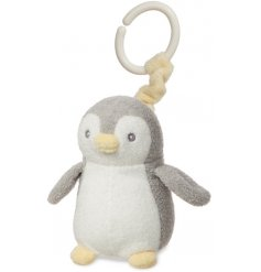 A plush little penguin named Pompom, covered in super snuggly fuzz and filled with fun rattling noises!