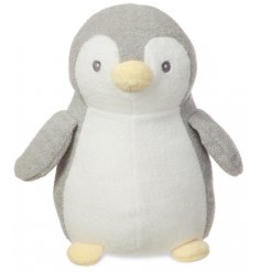 A plush little penguin named Pompom, covered in super snuggly fuzz and filled with an even snugglier stuffing
