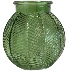 Bubble Glass Bowl, Green  Set with a decorative ridged decal, this bubble shaped green bowl will be sure to tie in with