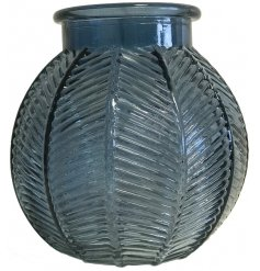 A small decorative glass bowl featuring a bubble shape and ridged decal