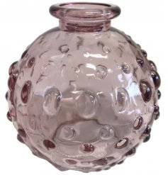 A small decorative vase, set with a dimple ridged decal and Pretty Pink tone