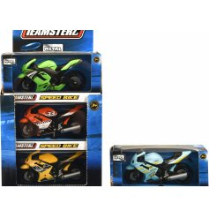 An assortment of 6 Teamsterz Speedbike Toys