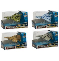 Four assorted metal fighter jet toys