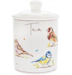 Garden Birds Ceramic Canister - Tea   A smooth ceramic canister with a charming Garden Bird decal and script 'Tea' text
