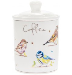 Covered with an array of Garden Birds, this charming ceramic canister will tie in beautifully with any kitchen space