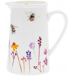 A smooth white ceramic jug with a beautifully printed Busy Bee Garden themed decal