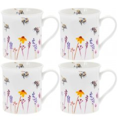 A set of smooth white Fine China Mugs with a beautifully printed Busy Bee Garden themed decal