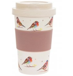 A stylish travel mug covered with a colourful Garden bird decal