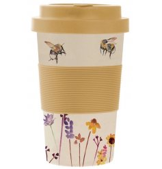 A charming bamboo based travel mug with a beautifully printed Busy Bee Garden themed decal