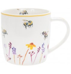 Busy Bee Garden Mug  A smooth white Fine China Mug with a beautifully printed Busy Bee Garden themed decal