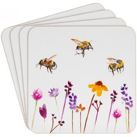 Busy Bee Garden Set of 4 Coasters