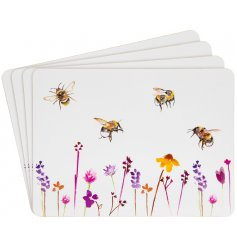 A set of smooth white cork based placemats with a beautifully printed Busy Bee Garden themed decal