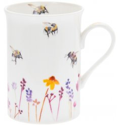 A smooth white Fine China Mug with a beautifully printed Busy Bee Garden themed decal