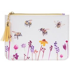 A stylish fabric coin purse with a yellow tone tassel and beautifully printed Busy Bee Garden themed decal