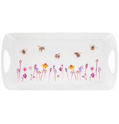 A smooth white plastic serving tray with a beautifully printed Busy Bee Garden themed decal