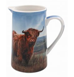 A charming ceramic jug featuring a Highland Cow design