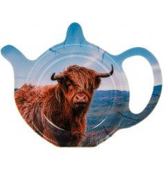 A grazing Highland Cow design perfectly printed onto a smooth plastic teabag tidy