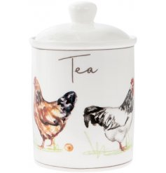 Covered with an array of illustrated chickens, this charming ceramic canister will tie in beautifully with any kitchen