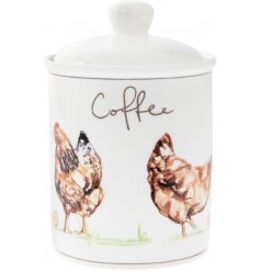 A smooth ceramic canister with a charming Country Chicken decal and script 'Coffee' text