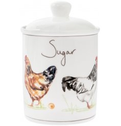 A smooth ceramic canister with a charming Country Chicken decal and script 'Sugar' text