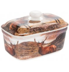A beautifully pictured Fine China Butter Dish with a woodland decal