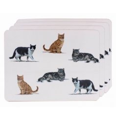 Covered with a cute cat themed decal, this placemat set will be sure to place perfectly in any kitchen