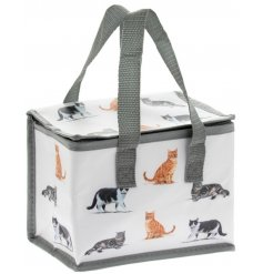 A grey and white toned fabric lunch bag featuring a printed cat decal