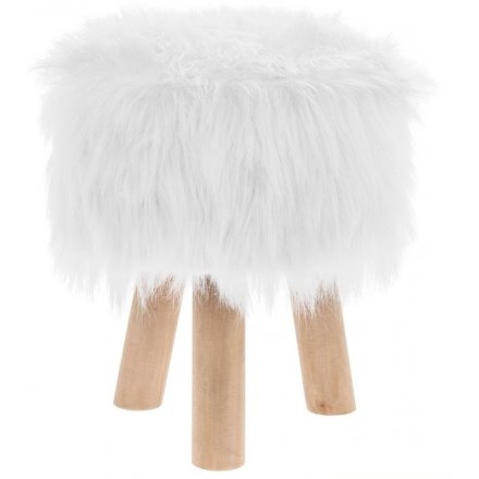 Faux Fluffy White Stool