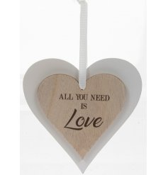 this natural wooden hanging heart with an added scripted text will be sure to make a lovely accent in any home