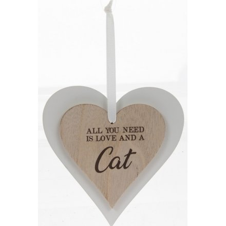 Love And A Cat Sentiments Heart Hanger