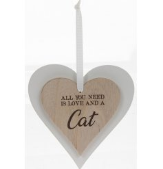A beautifully simple natural toned double wooden hanging heart decoration, sweetly scripted with a sentimental text