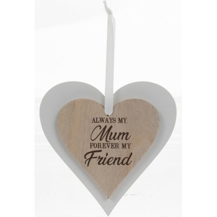 Natural Double Heart Plaque - Mum