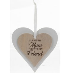 this natural wooden hanging heart with an added scripted text will be sure to make a lovely gift idea for any loved mot