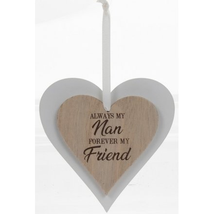 Natural Double Heart Plaque - Nan
