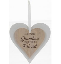 this natural wooden hanging heart with an added scripted text will be sure to make a lovely gift idea for any loved gran