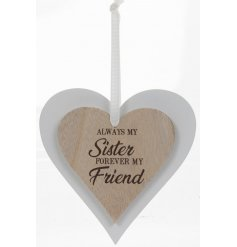Always My Sister Sentiments Heart Hanger  A beautifully simple natural toned double wooden hanging heart decoration, swe
