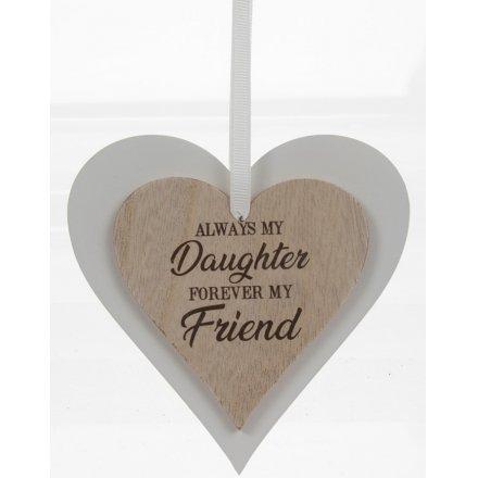 Always My Daughter Sentiments Heart Hanger
