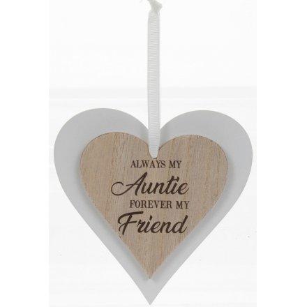 Always My Auntie Sentiments Heart Hanger
