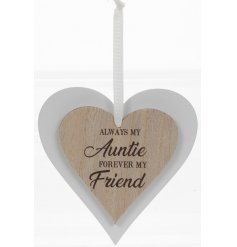 this natural wooden hanging heart with an added scripted text will be sure to make a lovely gift idea for any aunty