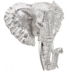 Set with a tarnished silver decal, this indepth detailed elephant bust will be sure to present a Statement look in any h