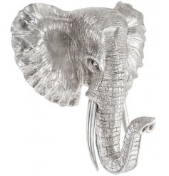 Bring a beautifully ornamental feature to any Luxe themed interiors with this outstanding Silver Elephant Wall Bust