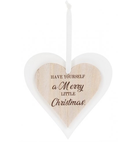 Wish your friends and family a Merry Little Christmas with this charming heart shaped sign.