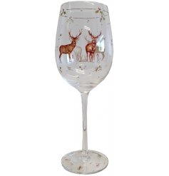this elegantly decorated Wine glass will be sure to add a festive winter touch to any toast