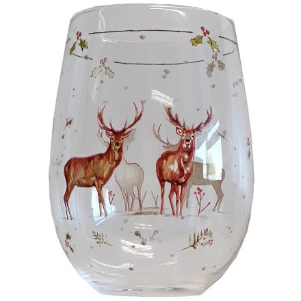 this elegantly decorated stemless glass will be sure to add a festive winter touch to any toast