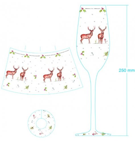 A classic champagne flute decorated with a Christmas stag and holly design. Complete with a colour gift box.