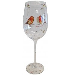 this elegantly decorated glass will be sure to add a festive winter touch to any toast