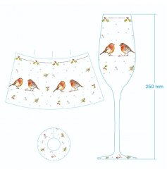 With its sweet sketched bird patterns and details, this elegantly decorated flute glass will be sure to add a festive w